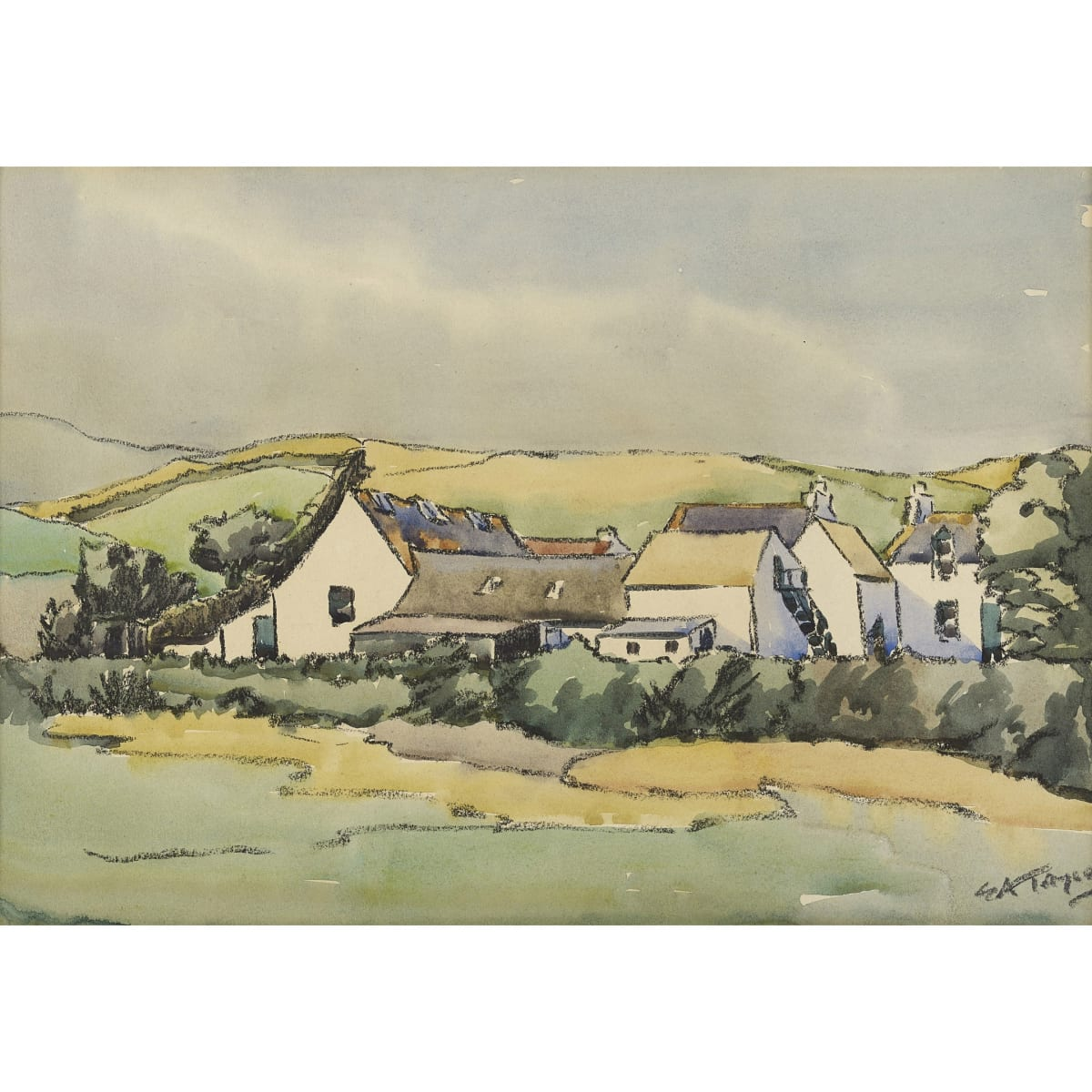 Ernest Archibald Taylor Kirkcudbright Cottages signed ink, charcoal and watercolour 9 x 13 1/4 inches