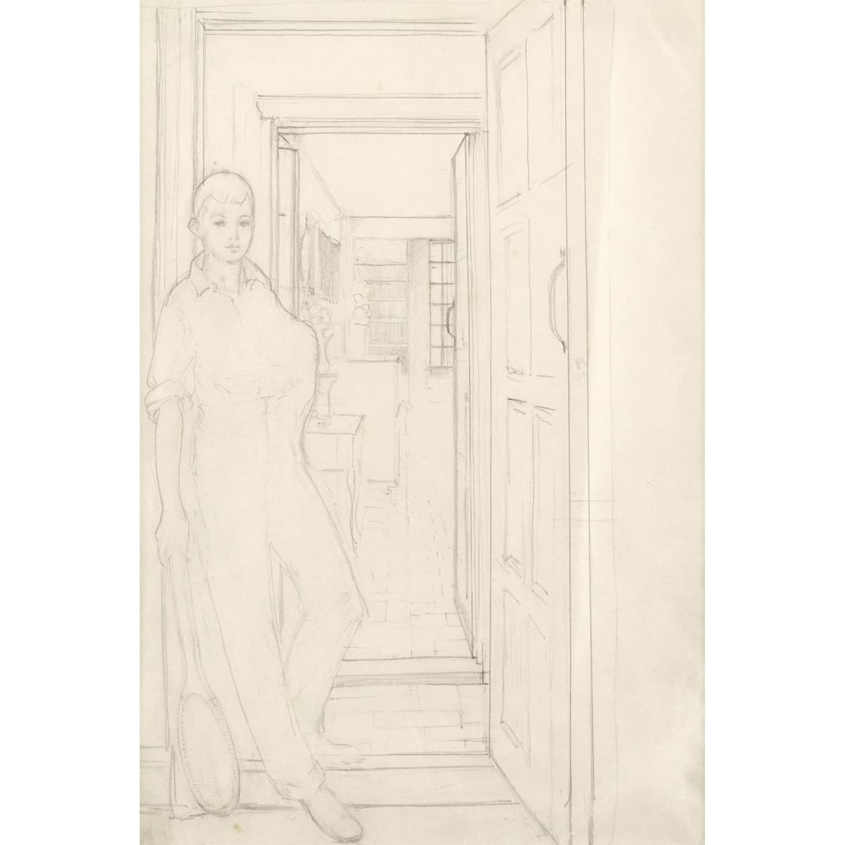Sir William Oliphant Hutchison Interior at Blyth Hill with HP Hutchison pencil 14 x 10 inches
