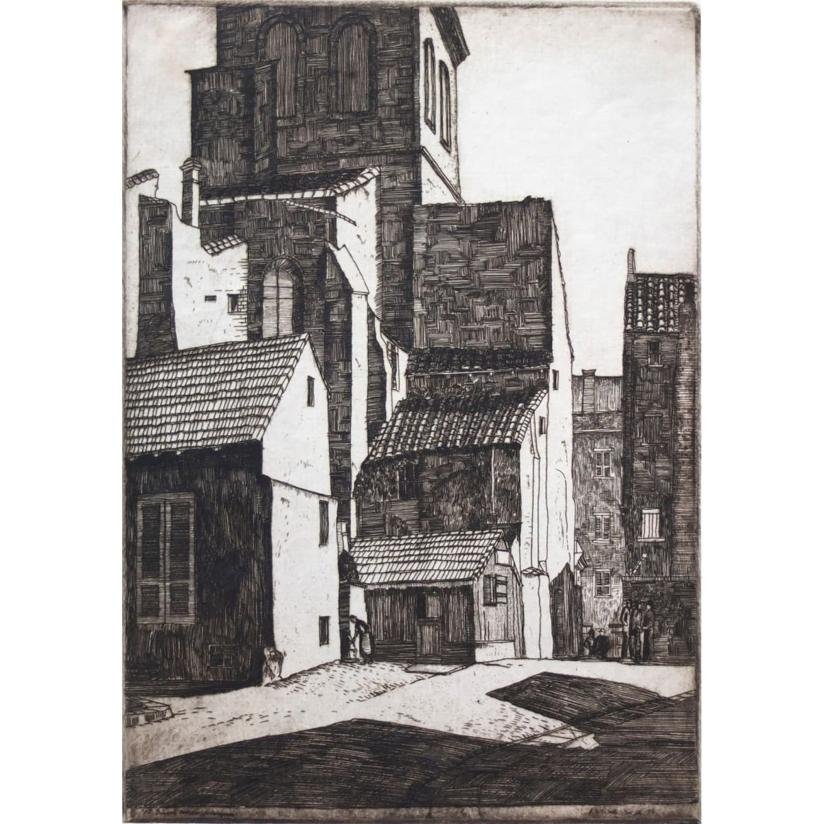 James McIntosh Patrick A quaint corner of Avignon, 1927 signed, titled and dated 1927 in plate etching plate size: 8 3/8 x 5 7/8 inches; sheet size: 11 1/2 x 9 1/8 inches