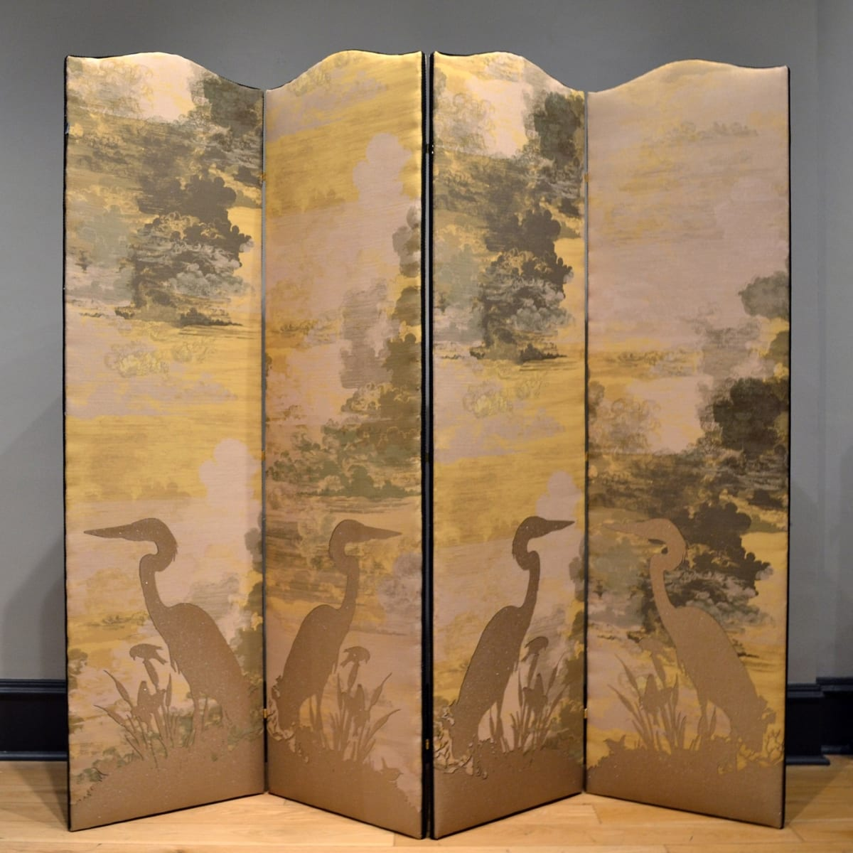 Timorous Beasties Golden Heron / Bee Eater Flock, 2019 folding screen upholstered in Cloud Toile fabric with one-off screen print design 176 x 194 cm (3 panels, 48.5 cm width each)