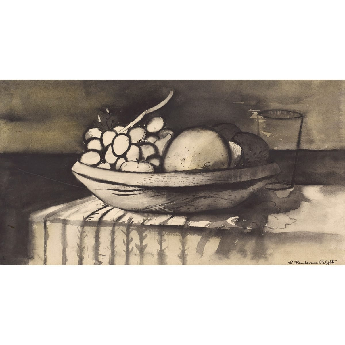 Robert Henderson Blyth Still Life, 1956 signed; titled on label verso; dated 1956 on plaque pen, ink and wash 10 1/4 x 18 3/4 inches