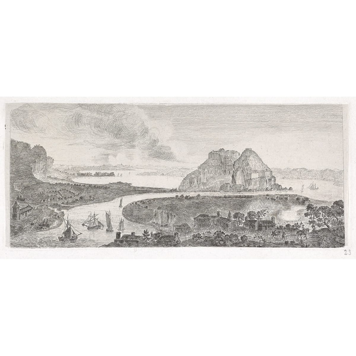 John Clerk of Eldin Dumbarton Castle from the West etching and drypoint 4 3/4 x 11 1/2 inches only state