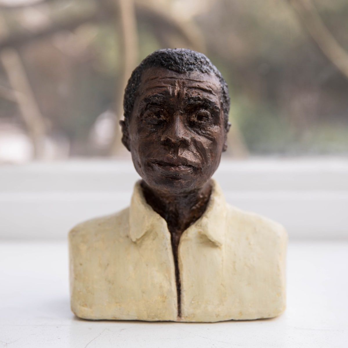 Nicole Farhi James Baldwin ciment fondu and acrylic; hand-painted bronze casts available to purchase 18 x 15 x 7 cm edition of 7 + 3 APs