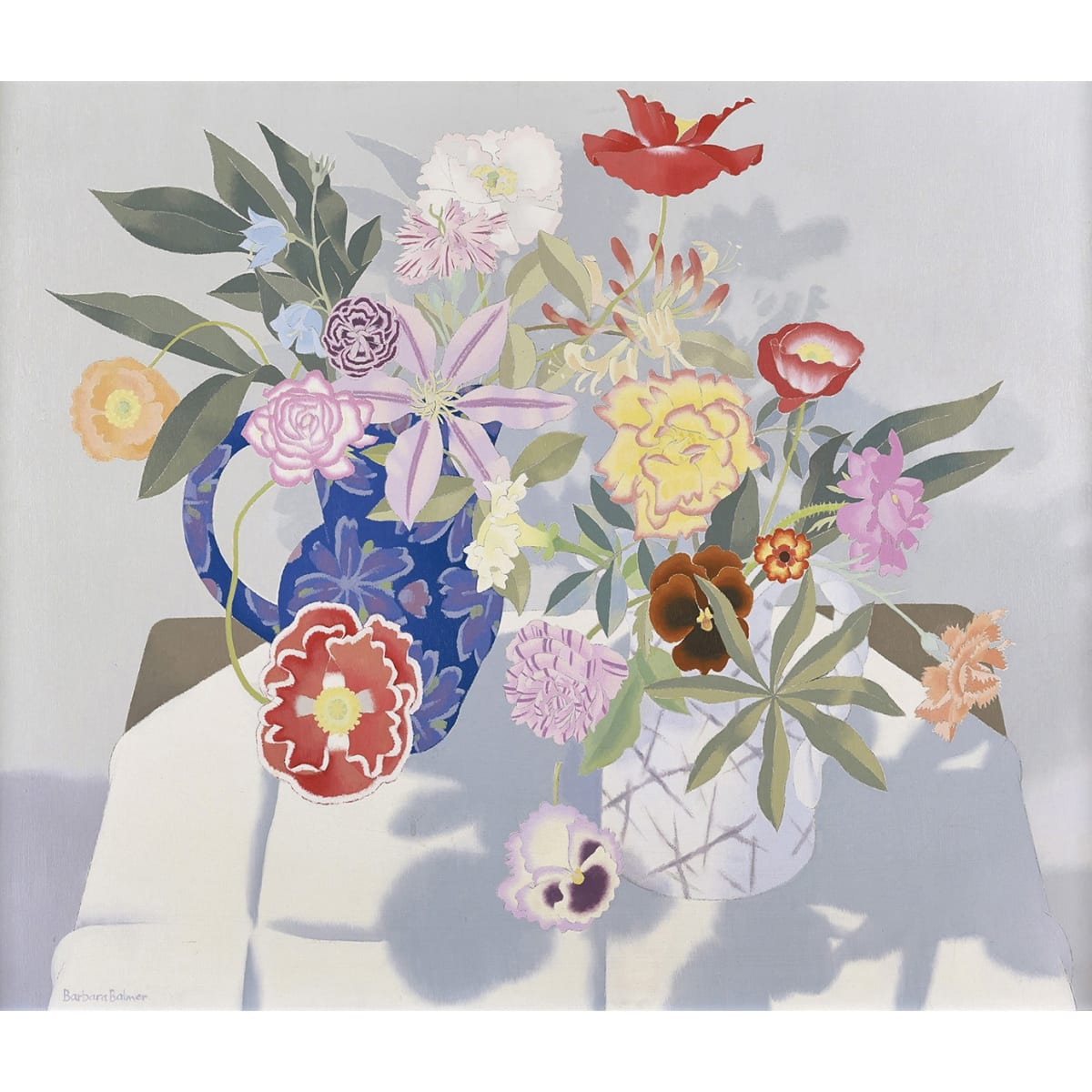Barbara Balmer Flowers Posing signed; signed and titled verso oil on board 30 x 36 inches