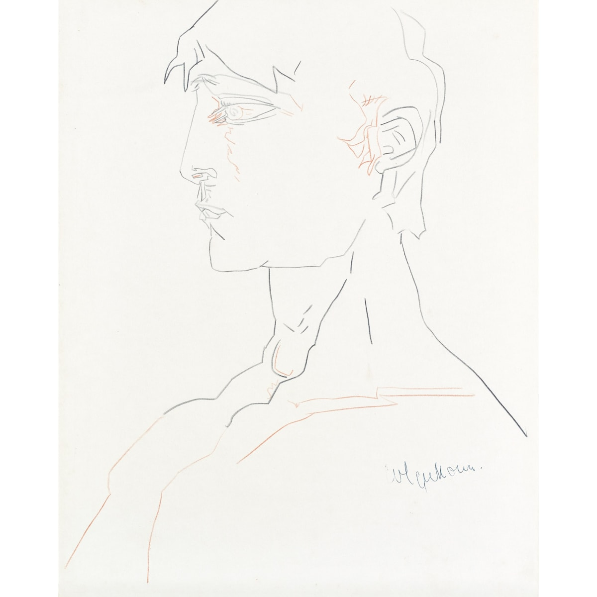 Robert Colquhoun Head of a Man in Profile, c.1959 c.1959; signed charcoal and chalk 19 3/4 x 15 3/4 inches