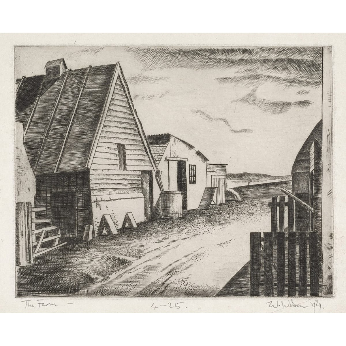 William Wilson The Farm, 1929, 1929 signed, titled, dated 1929 and numbered 4/25 in pencil to margin etching 6 1/4 x 5 inches