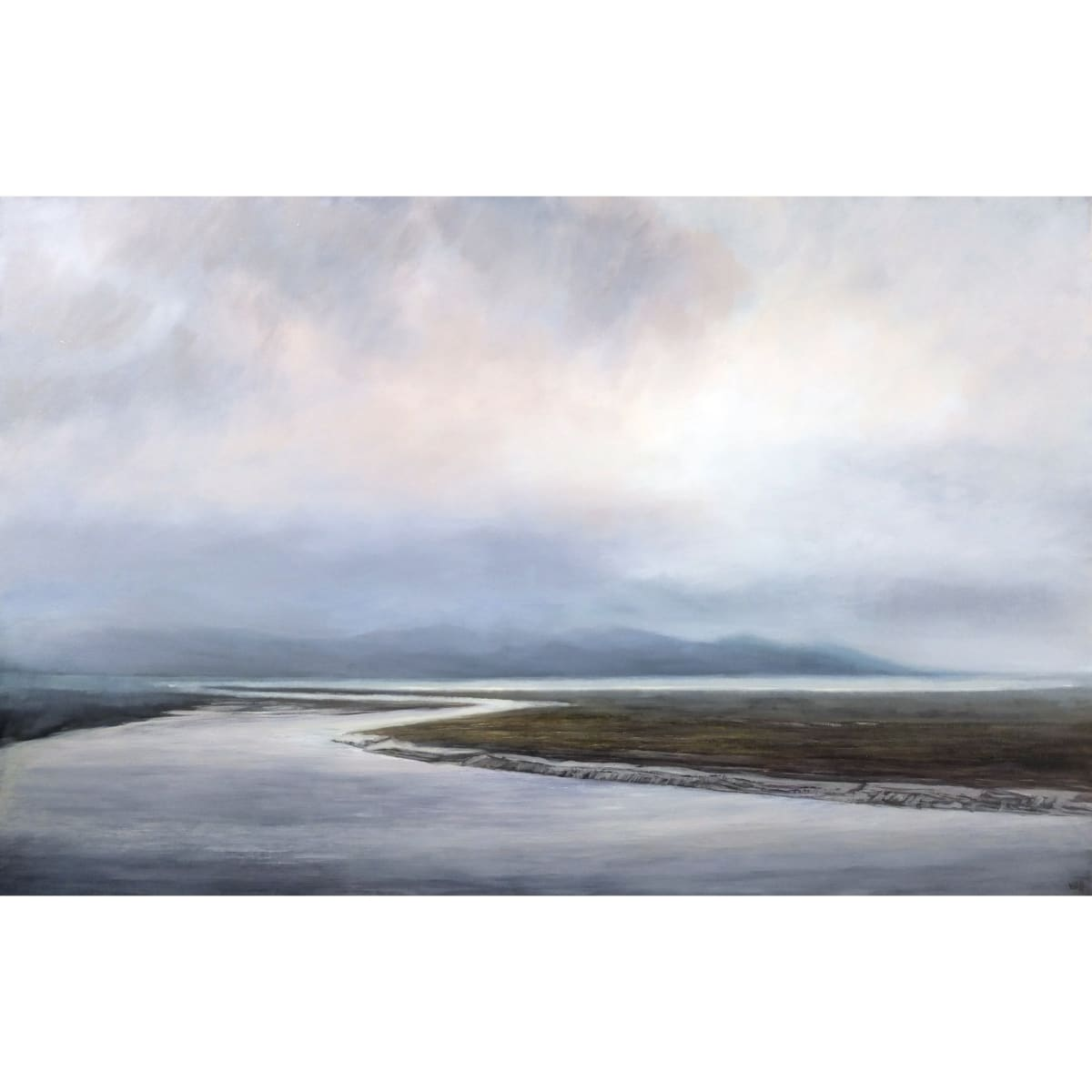 Victoria Orr Ewing The River Bladnoch meeting Wigtown Bay, 2019 initialled and dated 19 oil on canvas 30 x 48 inches