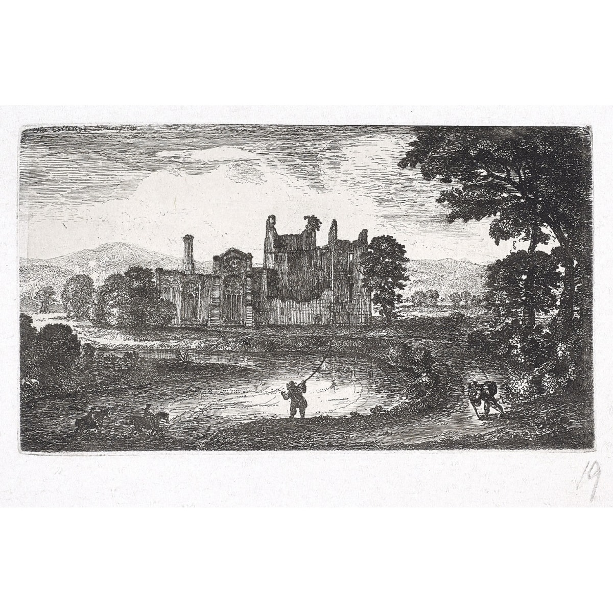 John Clerk of Eldin Lincluden Abbey titled 'The Colledge of Dumfries' in plate etching and drypoint 3 1/2 x 6 inches second state