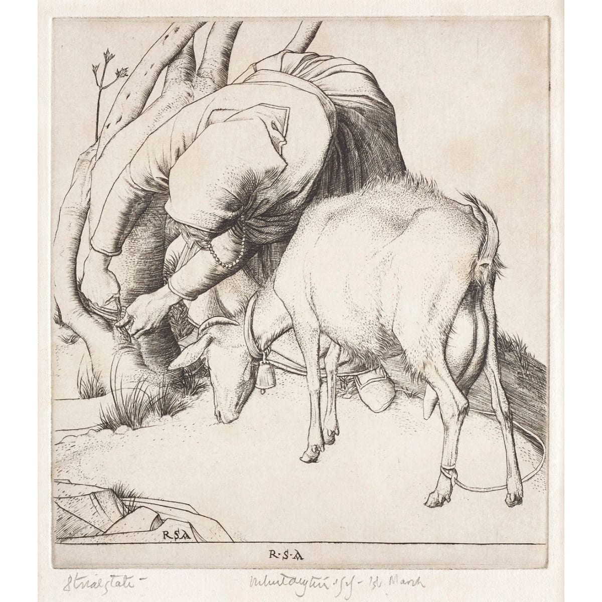 Robert Sargent Austin Tethering a goat, 1929 initialled RSA in plate; signed and dated 1st March 1929, inscribed '8th trial state' in pencil to margin etching plate size: 5 3/8 x 4 7/8 inches