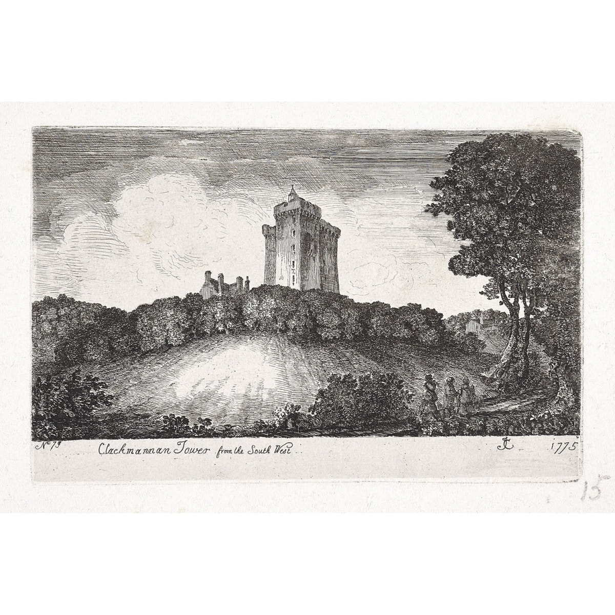 John Clerk of Eldin Clackmannan Tower from the South West, 1775 titled, inscribed 'No.79'; initialled JC and dated 1775 etching and drypoint 4 x 6 1/4 inches only state