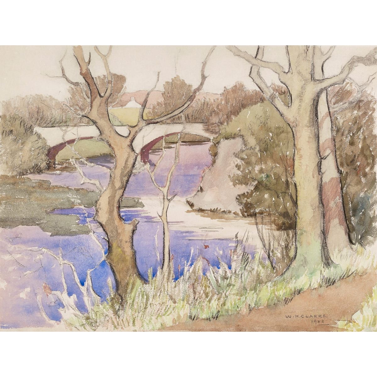 William Hanna Clarke Old Bridge, Tongland, 1923 signed and dated 1923 watercolour 11 x 14 1/2 inches