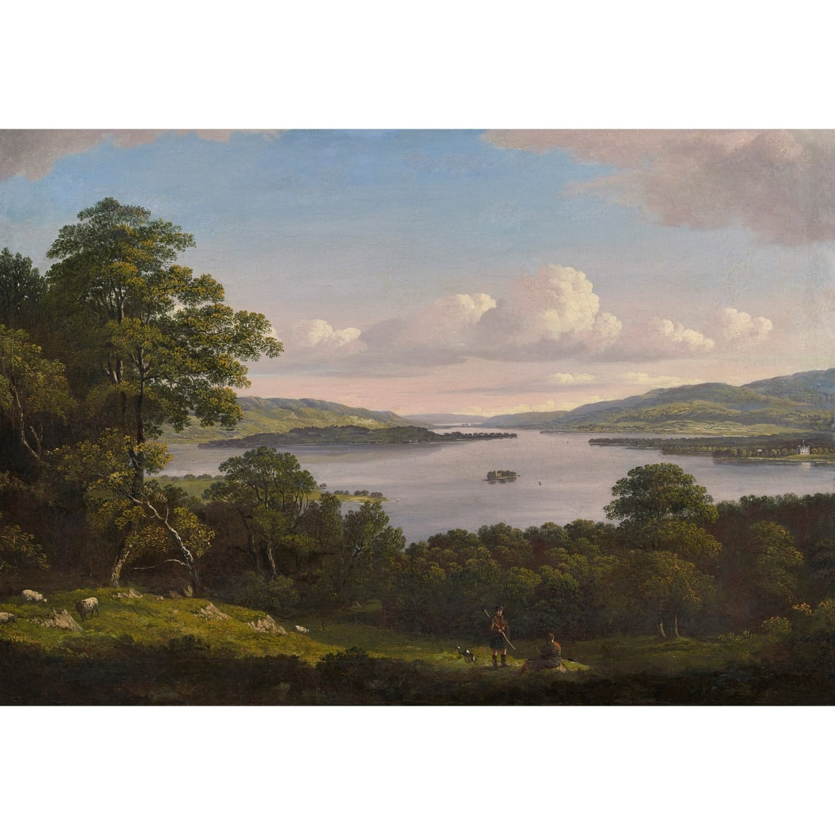 John Knox Looking towards Rossdhu House from Inchtavannach Island, Loch Lomond oil on canvas laid on panel 20 x 28 inches