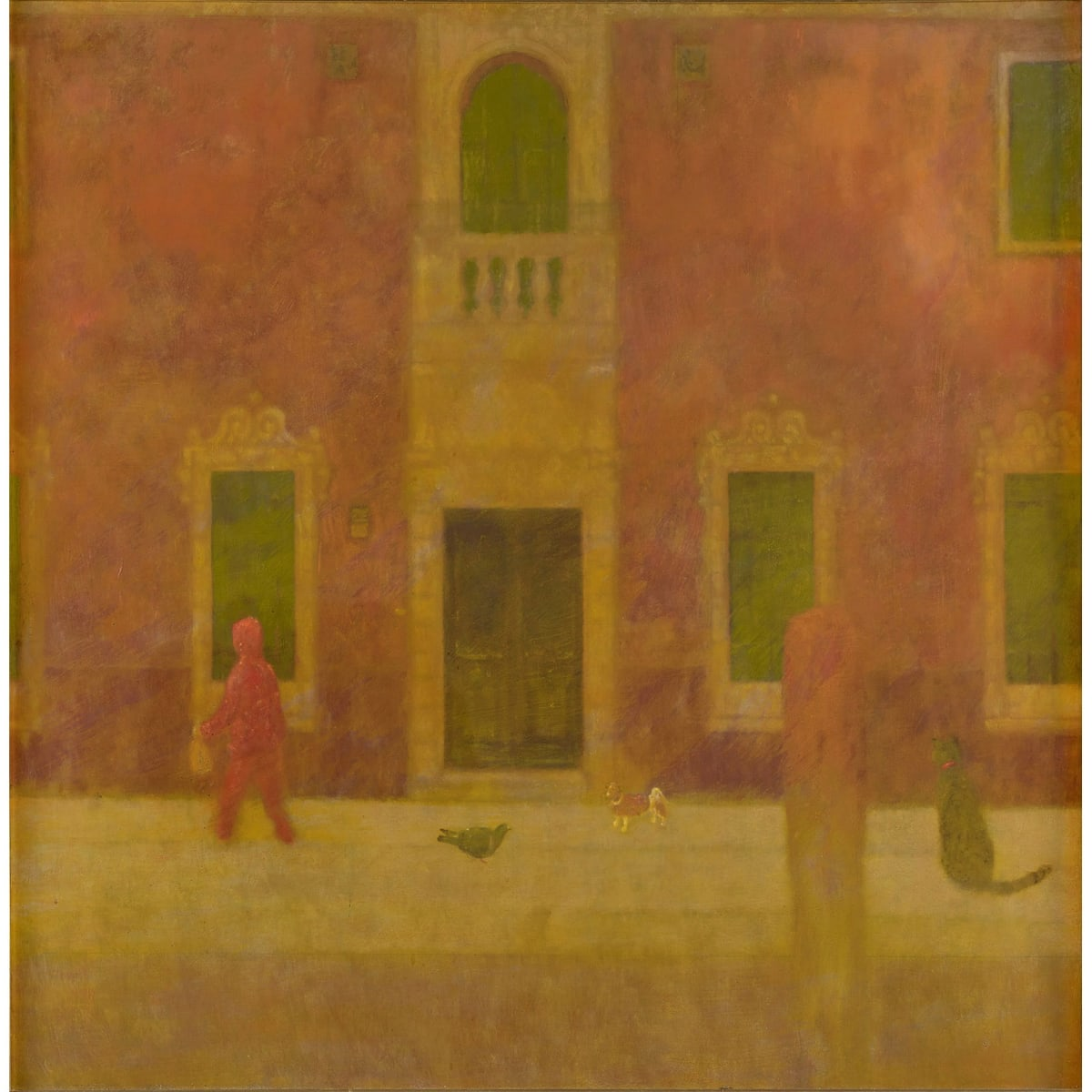 John Halliday The Red Jogger, Burano, c2000 oil on canvas laid on board 40 x 40 inches