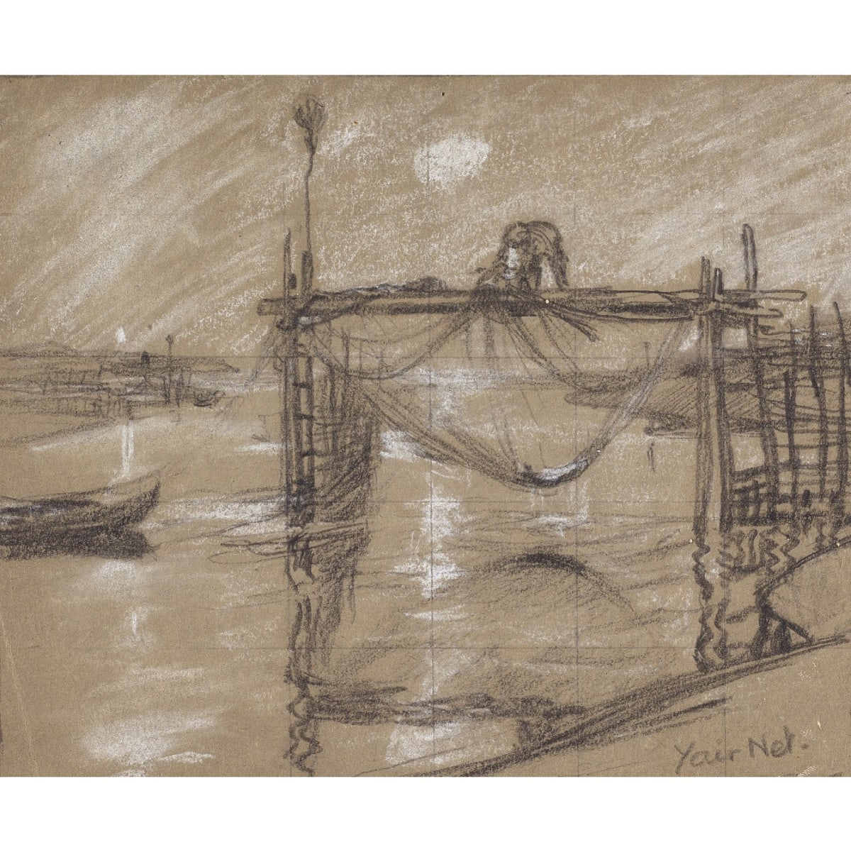 Charles Oppenheimer Yair Net inscribed with title pastel and pencil 6 x 7 1/2 inches