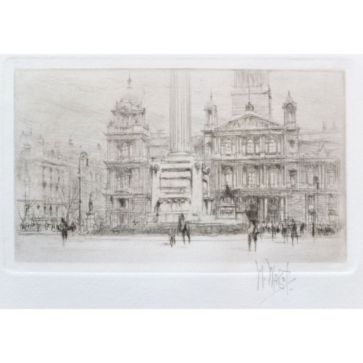 William Walcot Municipal Buildings, Glasgow, 1918 signed in pencil to margin etching and drypoint plate size: 2 5/8 x 4 1/4 inches; sheet size: 9 1/8 x 11 1/8 inches