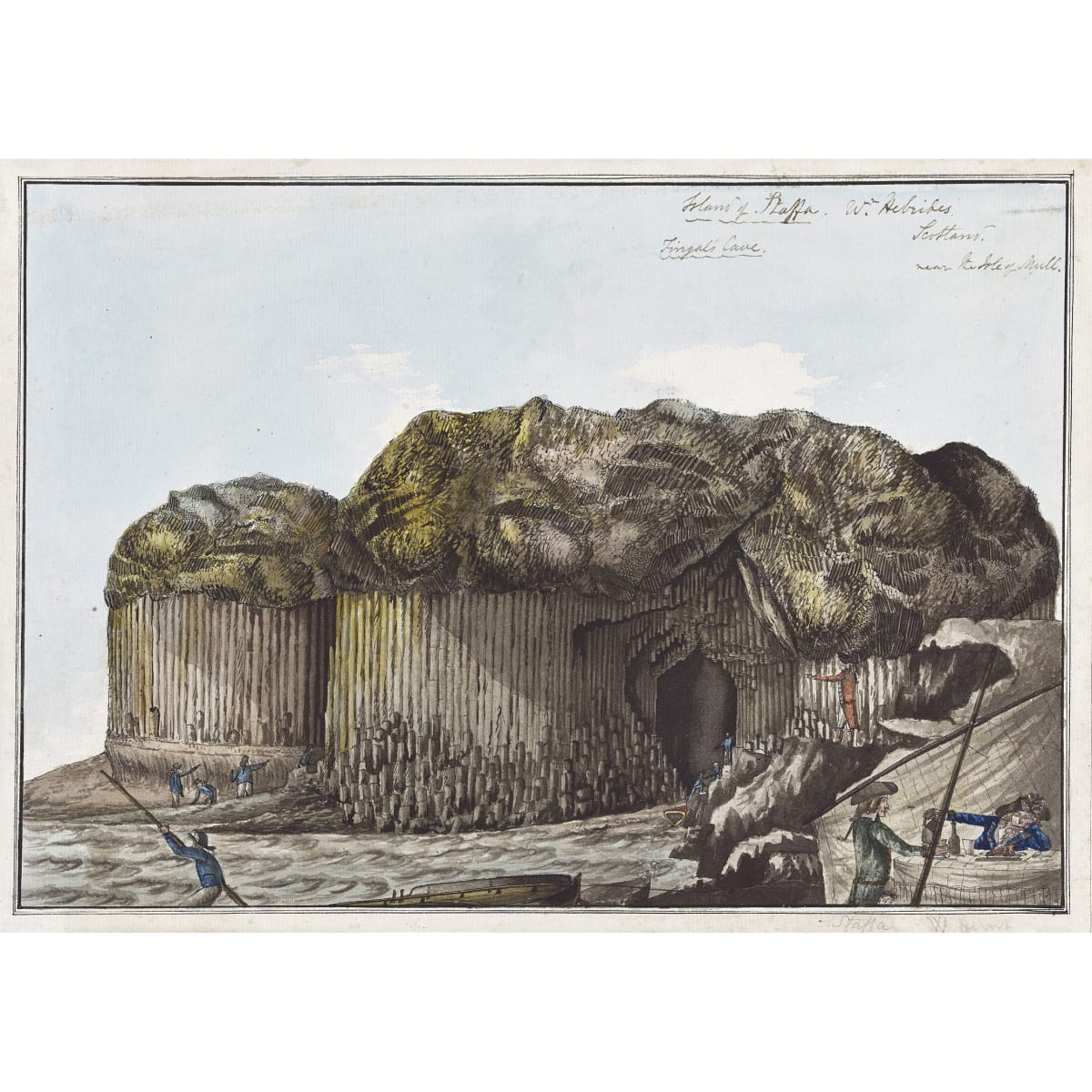 William Hunt Fingal's cave, on the Isle of Staffa, Scotland signed and titled in pencil to margin, inscribed upper right and verso watercolour, pen and ink 16 x 11 3/4 inches