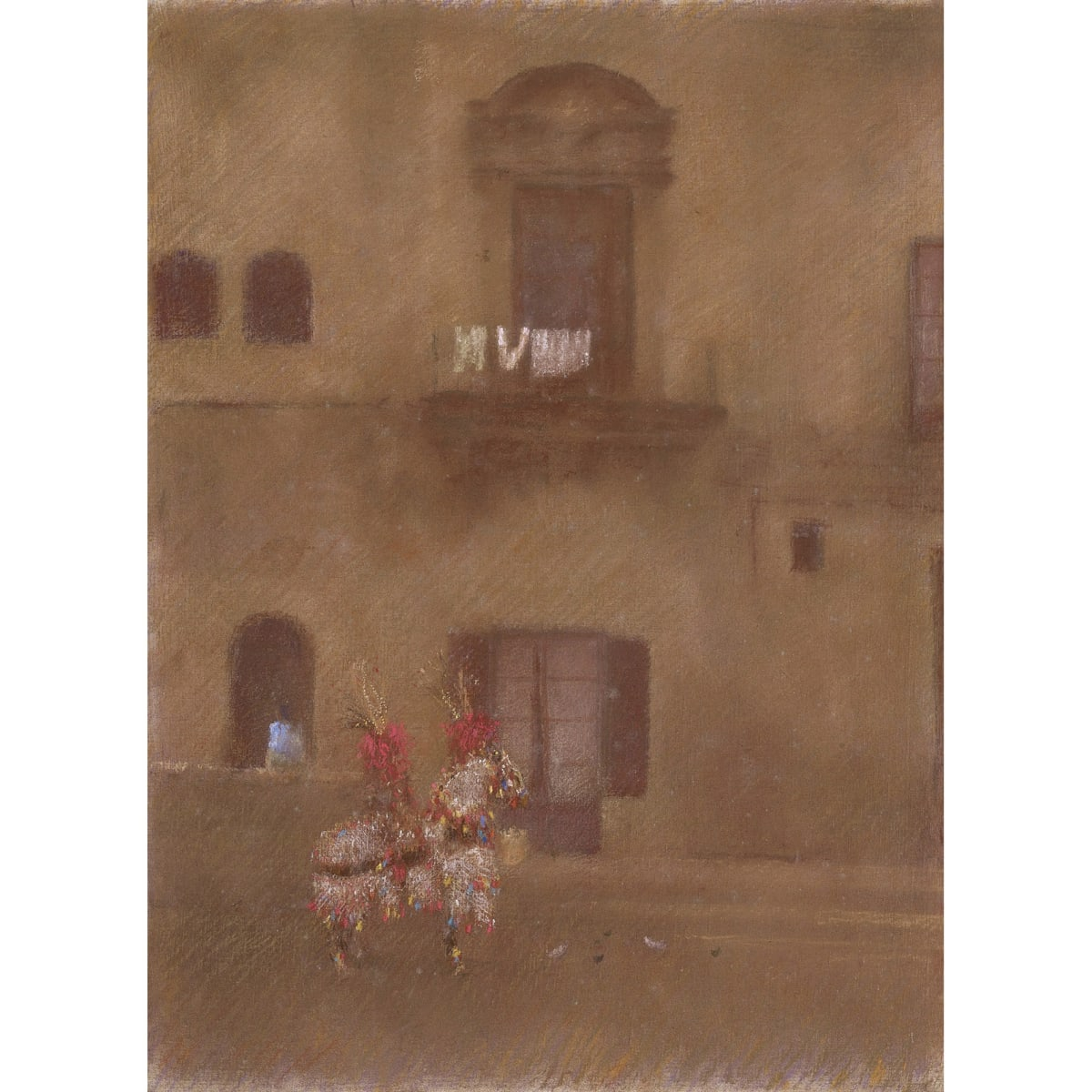 John Halliday Lunch Break, Palermo inscribed and titled on frame verso pastel on linen laid on board 40 x 30 inches