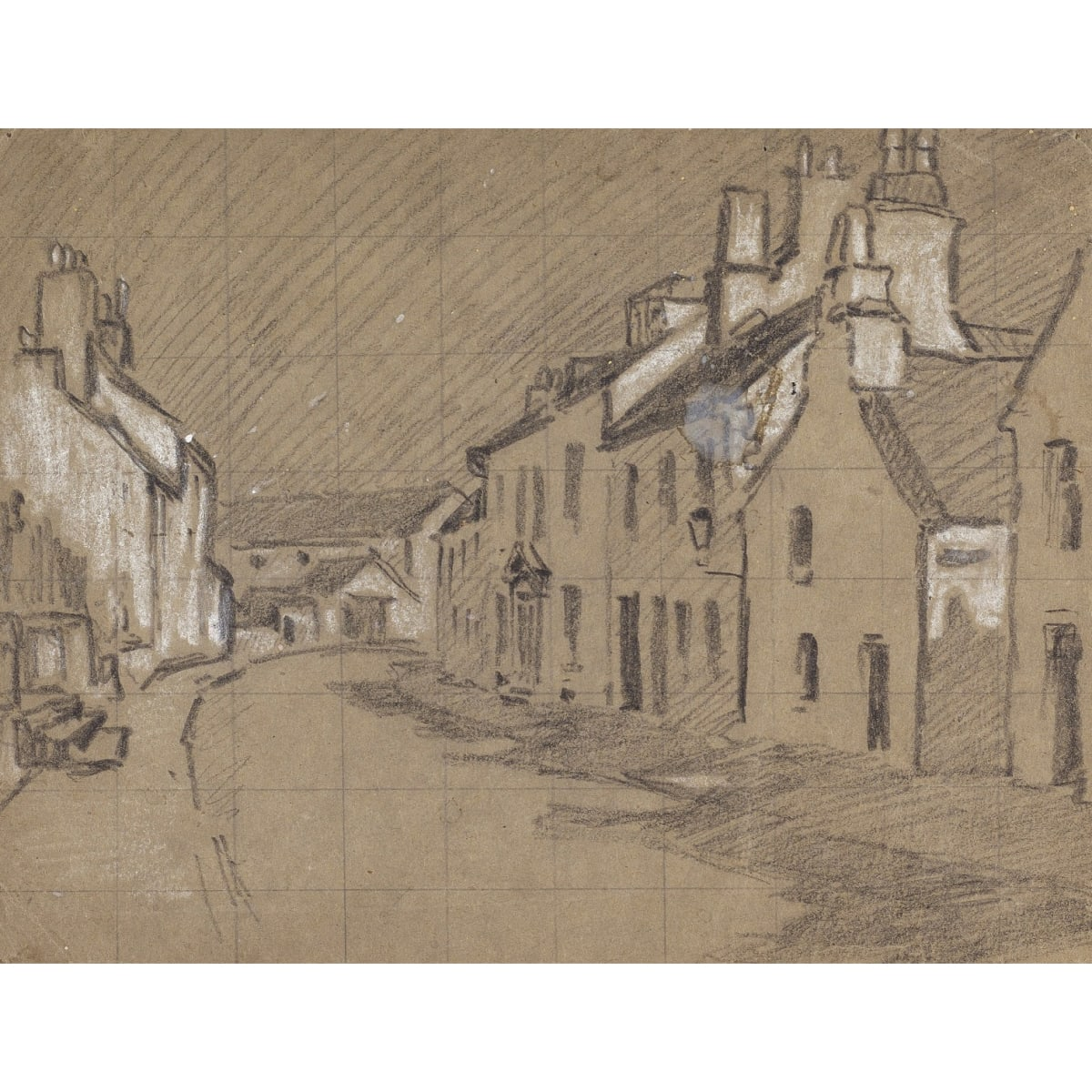 Charles Oppenheimer High Street, Kirkcudbright pastel and pencil 6 1/4 x 8 1/2 inches