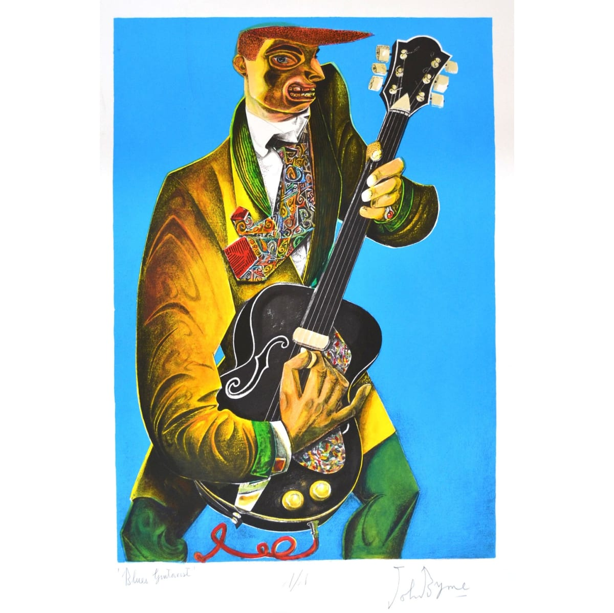 John Byrne Blues Guitarist, 2019 signed, titled and numbered 1/1 in pencil to margin hand coloured lithograph 26 3/4 x 18 3/4 inches