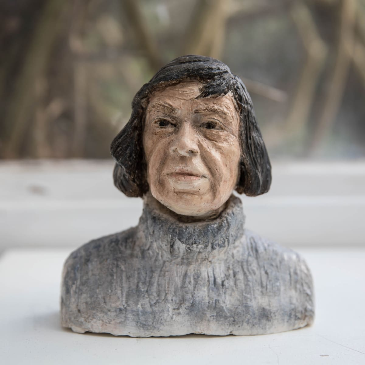 Nicole Farhi Patricia Highsmith ciment fondu and acrylic; hand-painted bronze casts available to purchase 17 x 17 x 6 cm edition of 7 + 3 APs
