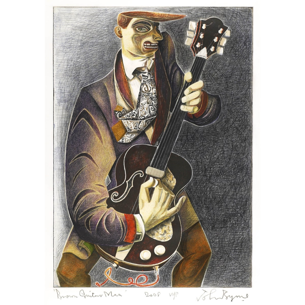 John Byrne Brown Guitar Man signed, titled and dated 2008 in pencil to margin hand coloured lithograph 26 1/2 x 18 1/2 inches