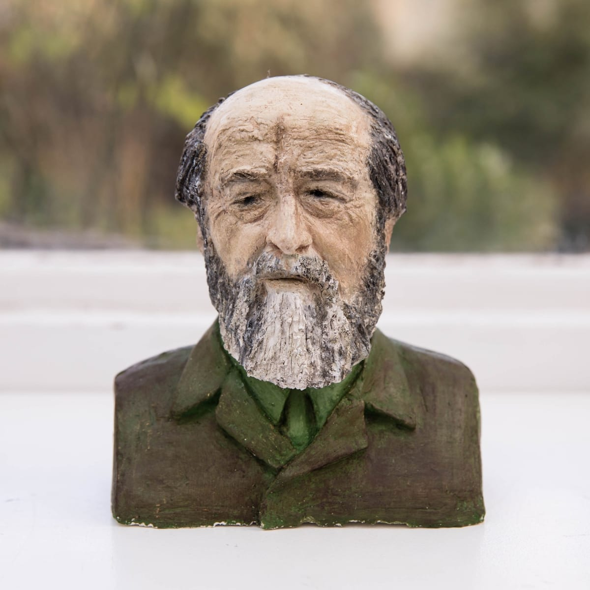 Nicole Farhi Aleksandr Solzhenitsyn ciment fondu and acrylic; hand-painted bronze casts available to purchase 18 x 16 x 7 cm edition of 7 + 3 APs