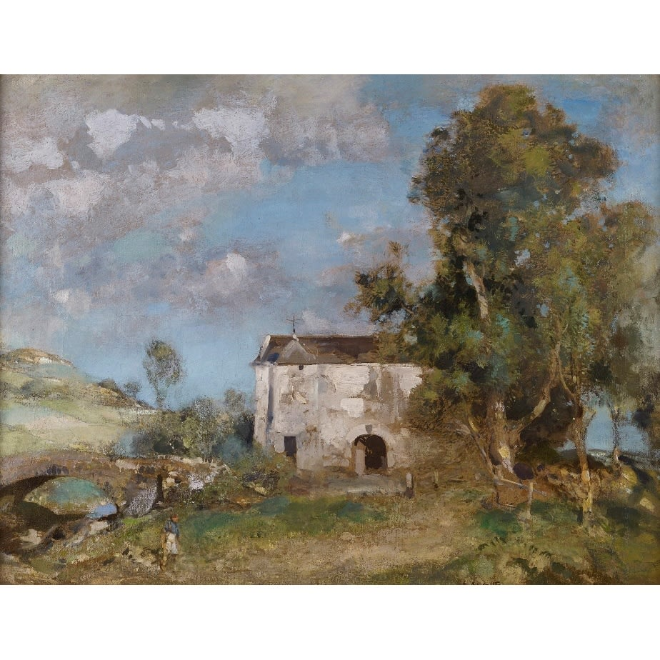 Edward Arthur Walton The Mill on the Griffe, near Kilmacolm signed; signed and titled on label verso oil on canvas 28 x 36 inches
