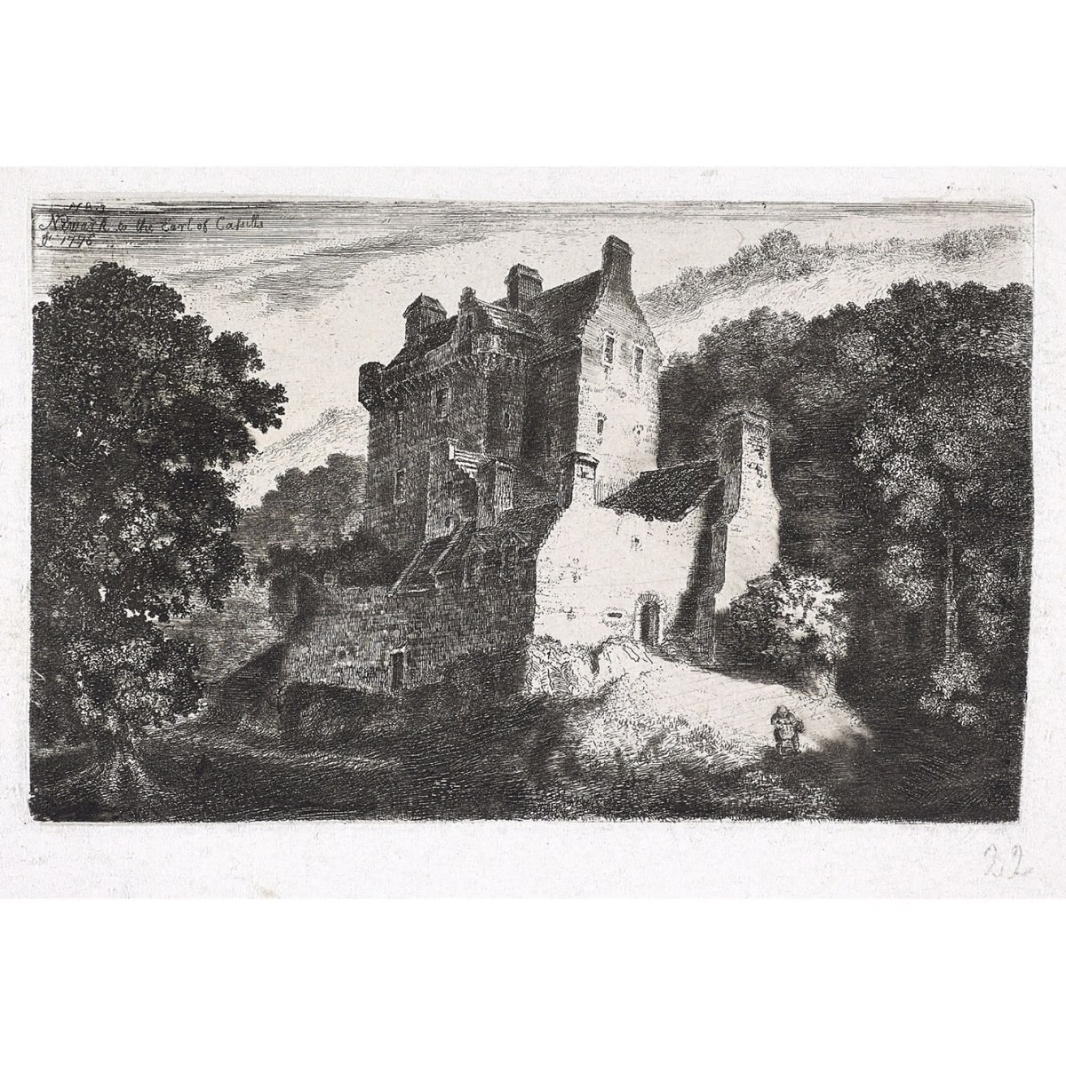 John Clerk of Eldin Newark Castle, 1776 titled, initialled JC, dated 1776 and inscribed 'No.53' in plate etching and drypoint 4 x 6 1/4 inches third state