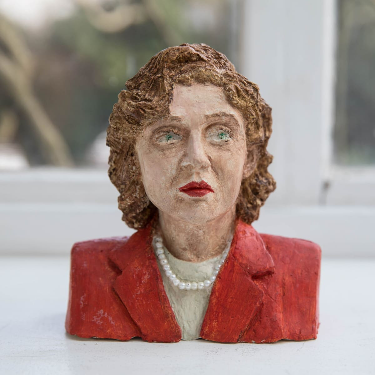 Nicole Farhi Muriel Spark ciment fondu and acrylic; hand-painted bronze casts available to purchase 18 x 15 x 7 cm edition of 7 + 3 APs