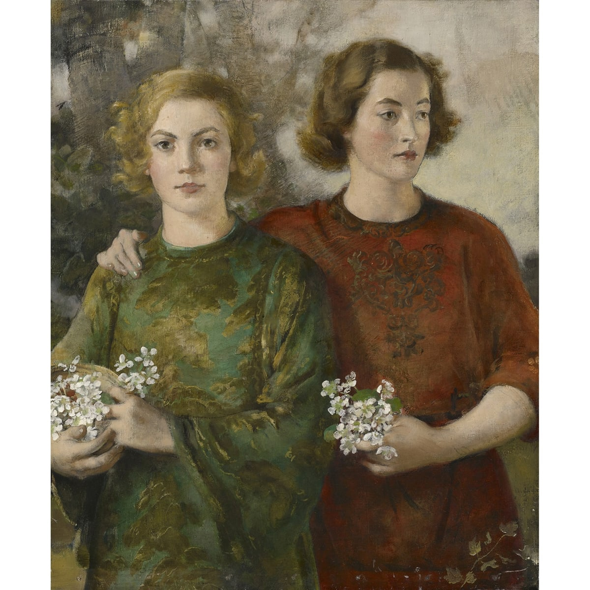 John Henry Lintott The sisters oil on canvas 40 x 25 inches