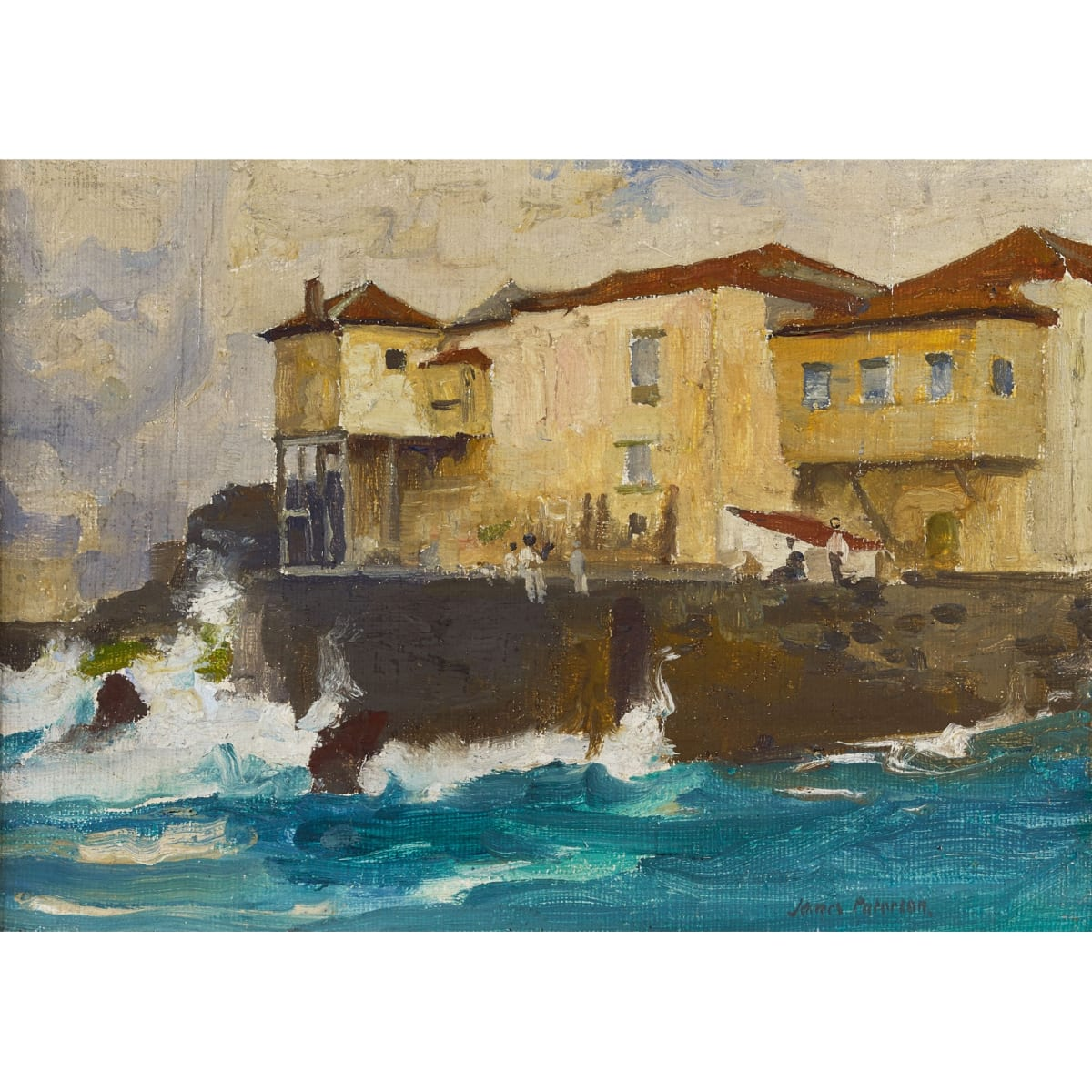 James Paterson Tenerife - Coming into Port - Green Seas signed oil on canvas 7 x 10 inches