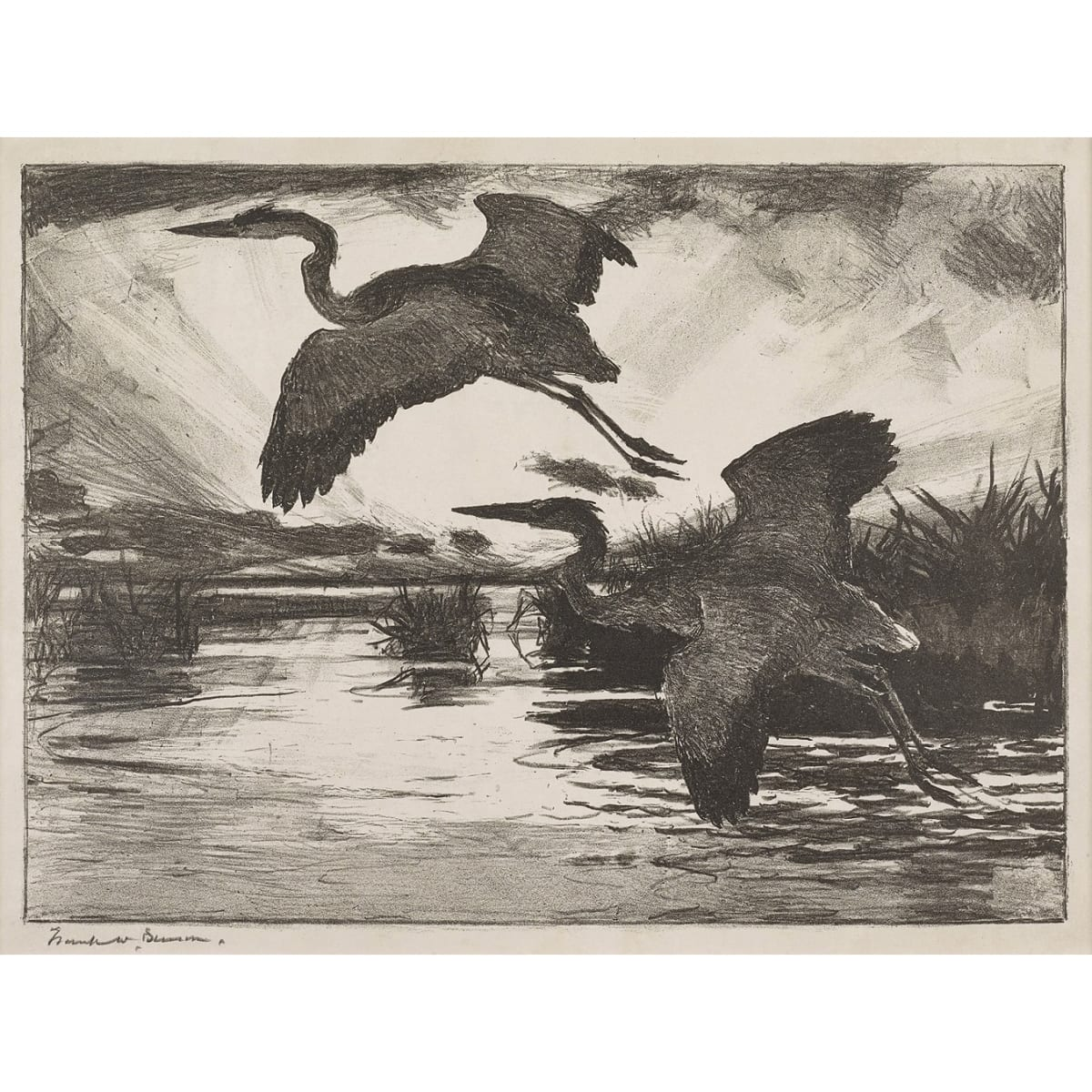 Frank Weston Benson Blue Herons, 1928 initialled FWB and dated 1928 in plate; signed in pencil to margin and titled in pencil to sheet etching 9 1/2 x 13 inches