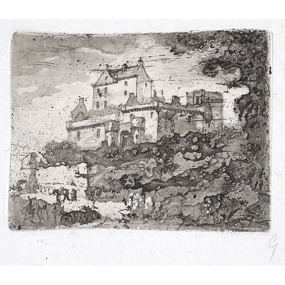 John Clerk of Eldin Dalhousie Castle etching and aquatint 3 x 4 inches 3rd state