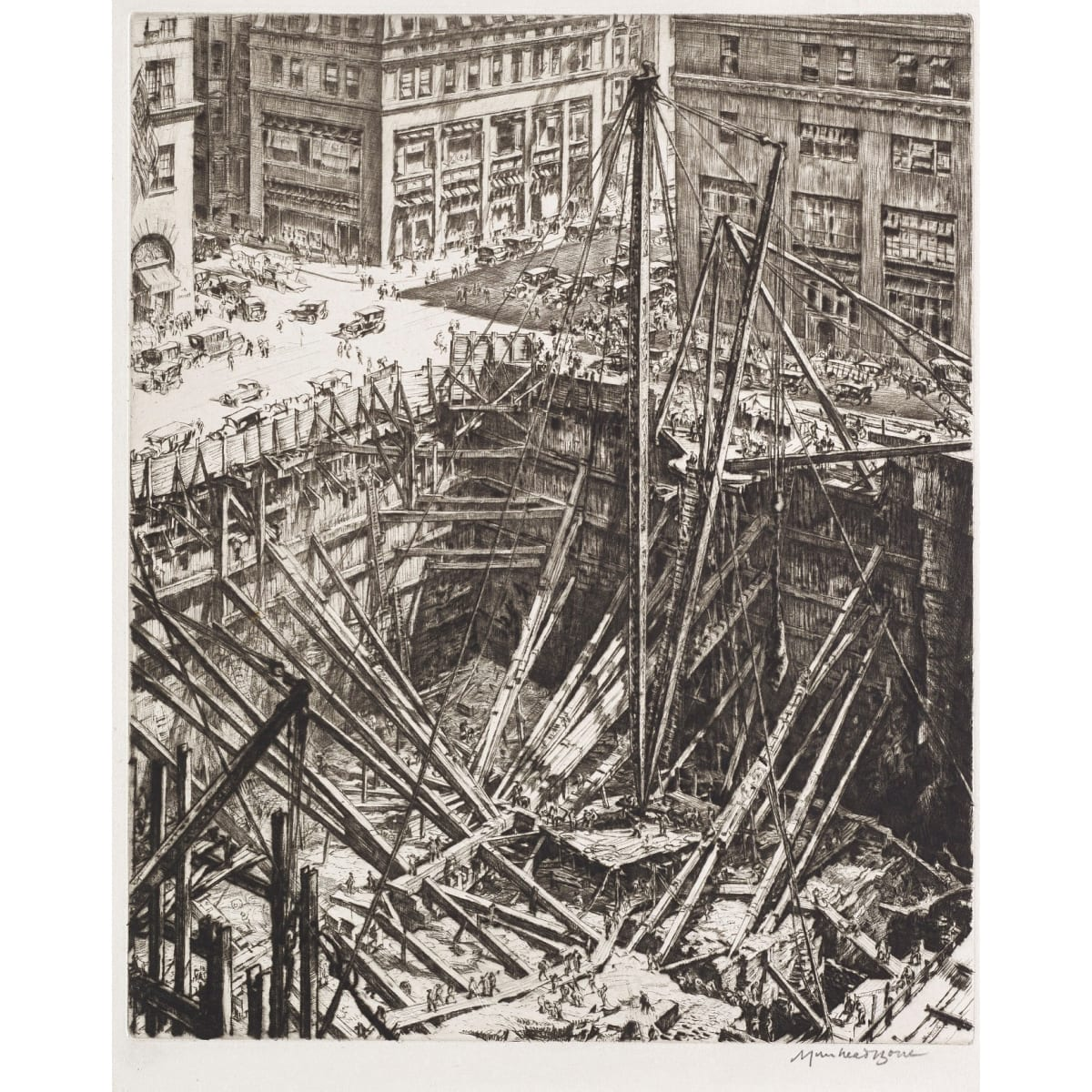 Sir Muirhead Bone A Manhattan excavation, 1923 signed in plate; signed in pencil to margin and initialled MB indicating a proof reserved for the artist drypoint plate size: 12 1/4 x 10 1/8 inches; sheet size: 15 1/2 x 12 7/8 inches 1 of 18 impressions in the 13th state (of 19), 151 copies in all