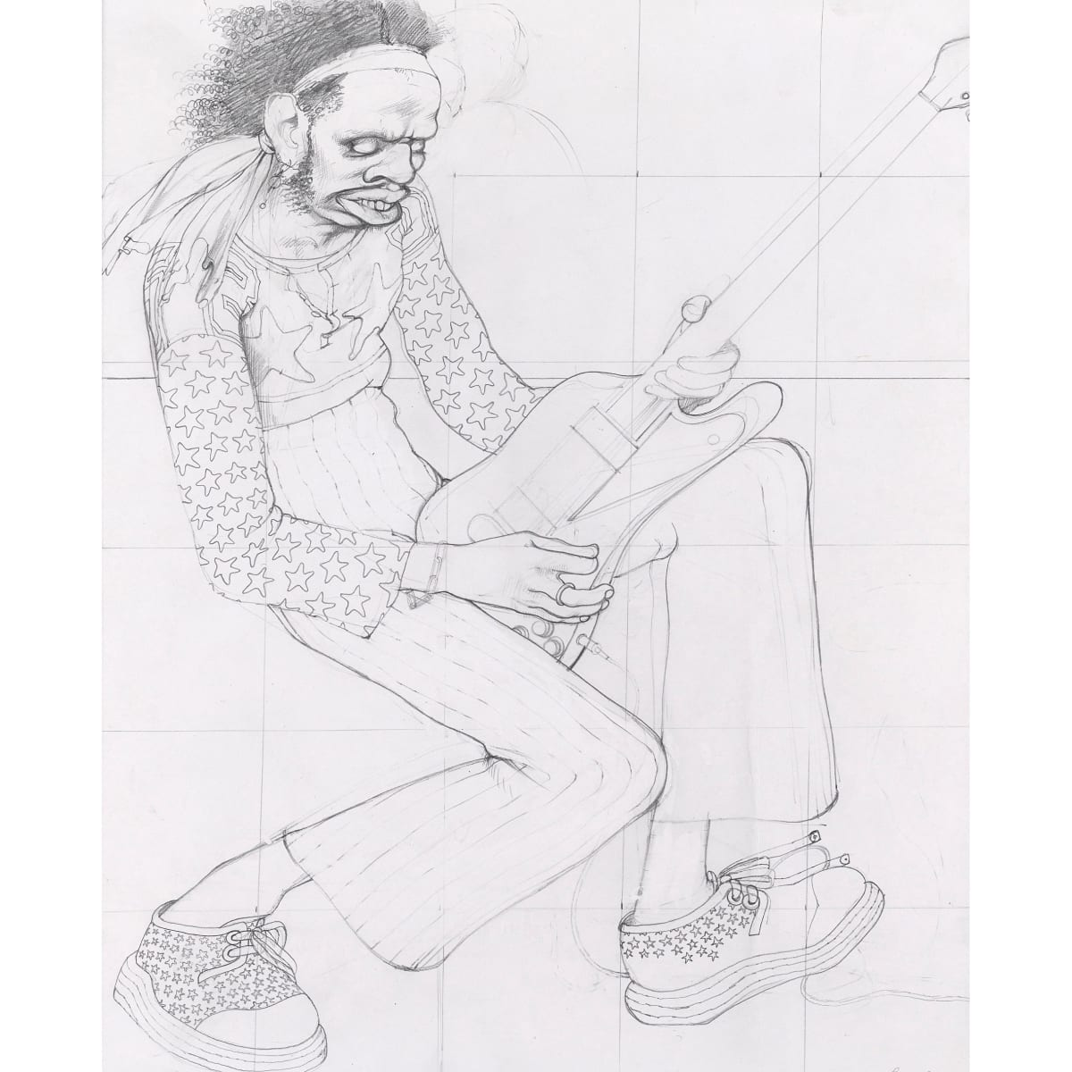 John Byrne Guitar Player, c.1971 signed pencil 15 3/4 x 13 inches