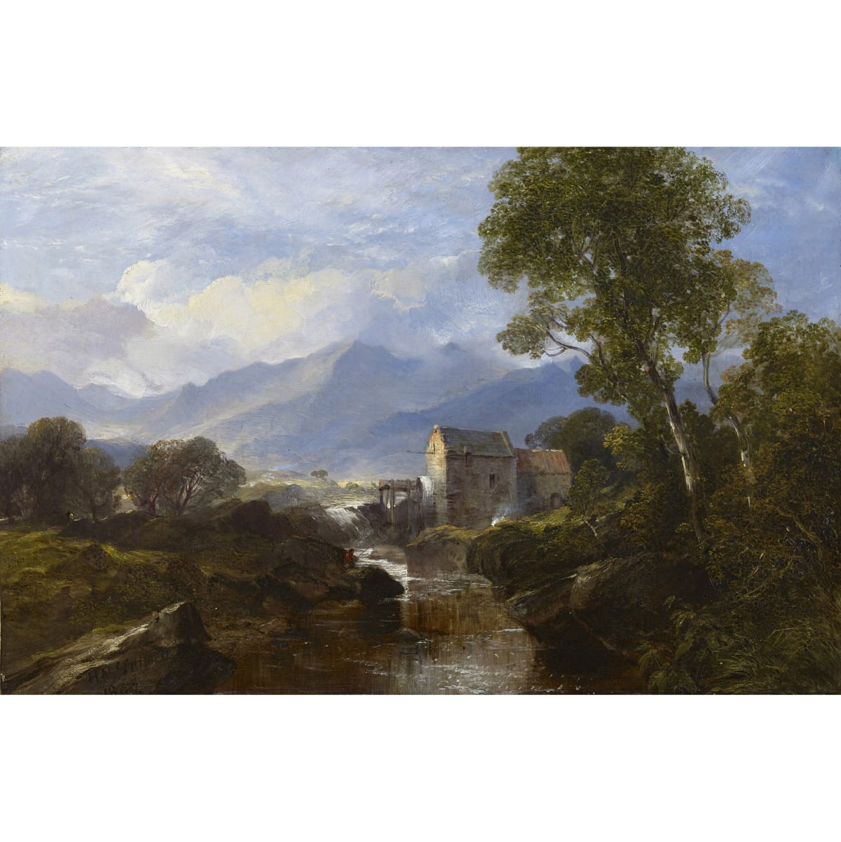 Horatio McCulloch Watermill in the Highlands, 1862 signed and dated 186[4?] oil on canvas 12 x 18 1/4 inches