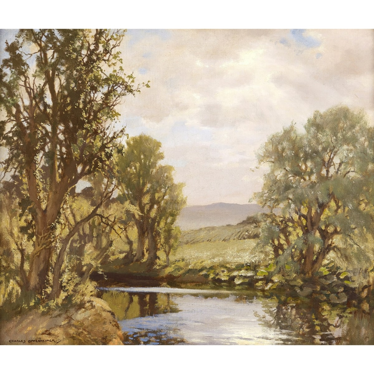 Charles Oppenheimer Water Meadows, 1954 signed; signed and titled on artist's label verso oil on canvas board 19 1/2 x 23 1/2 inches
