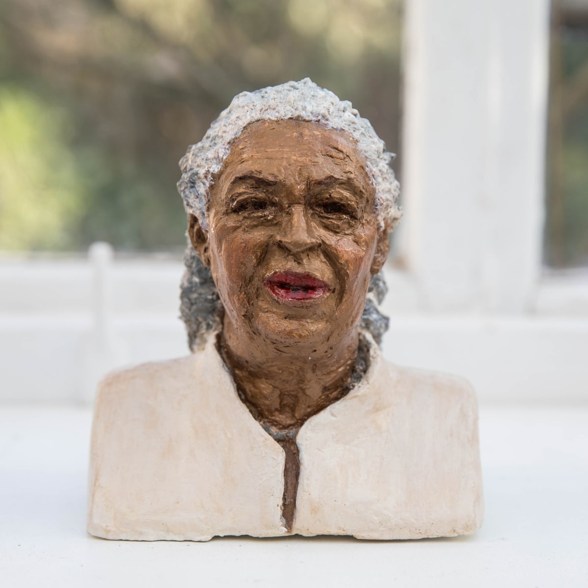 Nicole Farhi Toni Morrison ciment fondu and acrylic; hand-painted bronze casts available to purchase 17 x 15 x 9 cm edition of 7 + 3 APs
