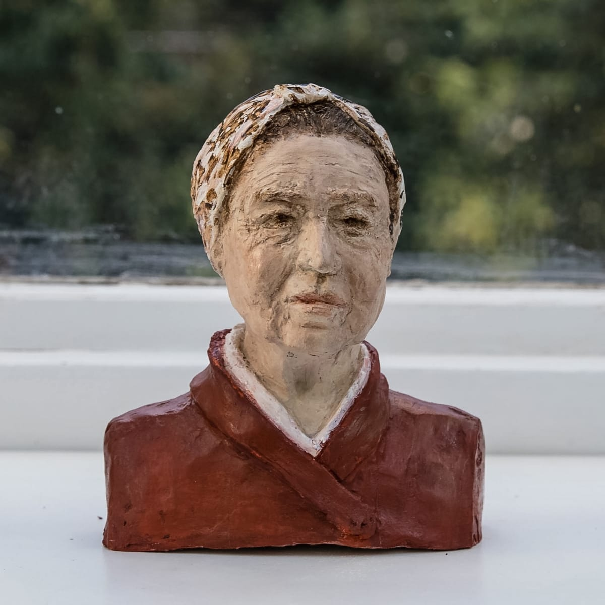 Nicole Farhi Simone de Beauvoir ciment fondu and acrylic; hand-painted bronze casts available to purchase 18 x 14 x 7 cm edition of 7 + 3 APs