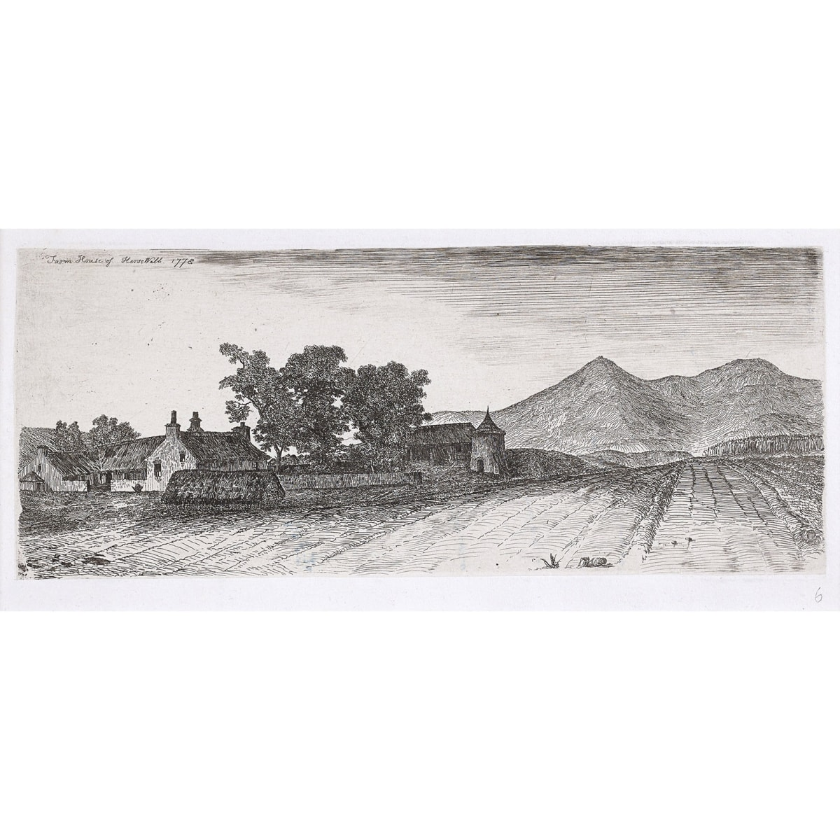 John Clerk of Eldin Farm of Kersewell, 1773 titled and dated 1773 (the '3' reversed) etching and drypoint 4 x 9 3/4 inches second state