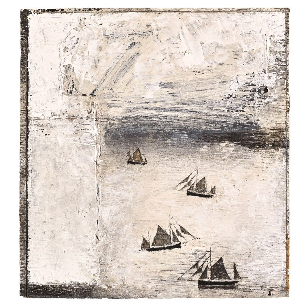 Graham Rich Four boats tacking against the ebb, 2005 signed, titled and dated 2005 verso found material and marine paint 9 1/2 x 9 inches