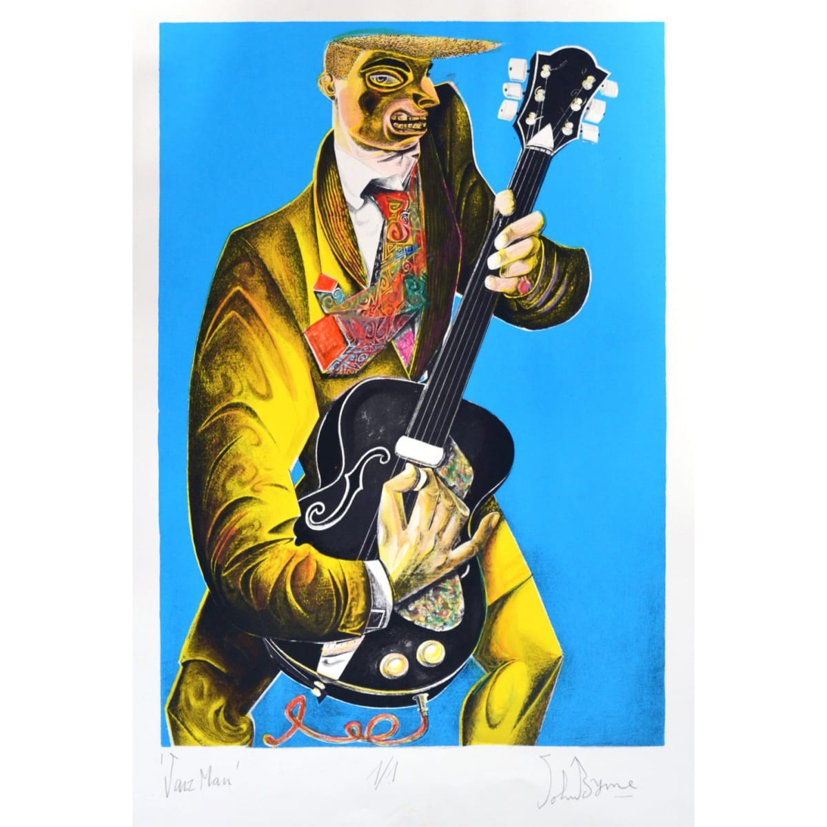 John Byrne Jazz Man, 2019 signed, titled and numbered 1/1 in pencil to margin hand coloured lithograph 26 3/4 x 18 3/4 inches
