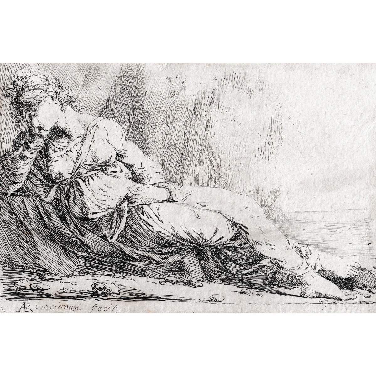"Alexander Runciman Ariadne abandoned on Naxos, printed c.1820 signed in plate, trimmed to the platemark etching 5 1/2 x 4 inches etching Published 1819-22 by W. Lewis, London for ""A Collection of Two Hundred Original Etchings"""