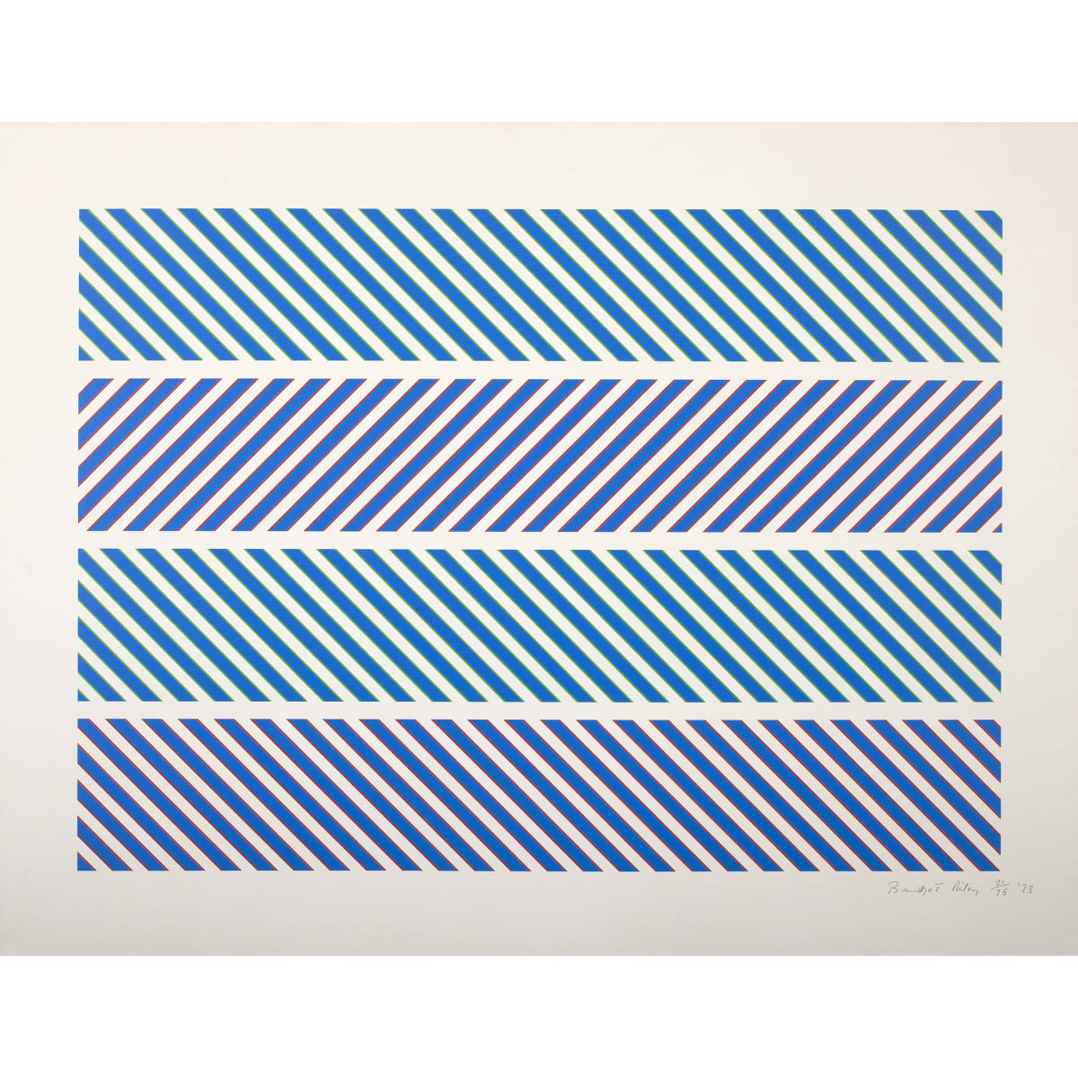 Bridget Riley Untitled (from the Rothko Memorial Portfolio), 1973 signed, numbered and dated '73 in pencil to margin screenprint on Aquarelle Arches Satine 21 3/4 x 30 3/8 inches numbered 21 from the edition of 75 + 15 APs