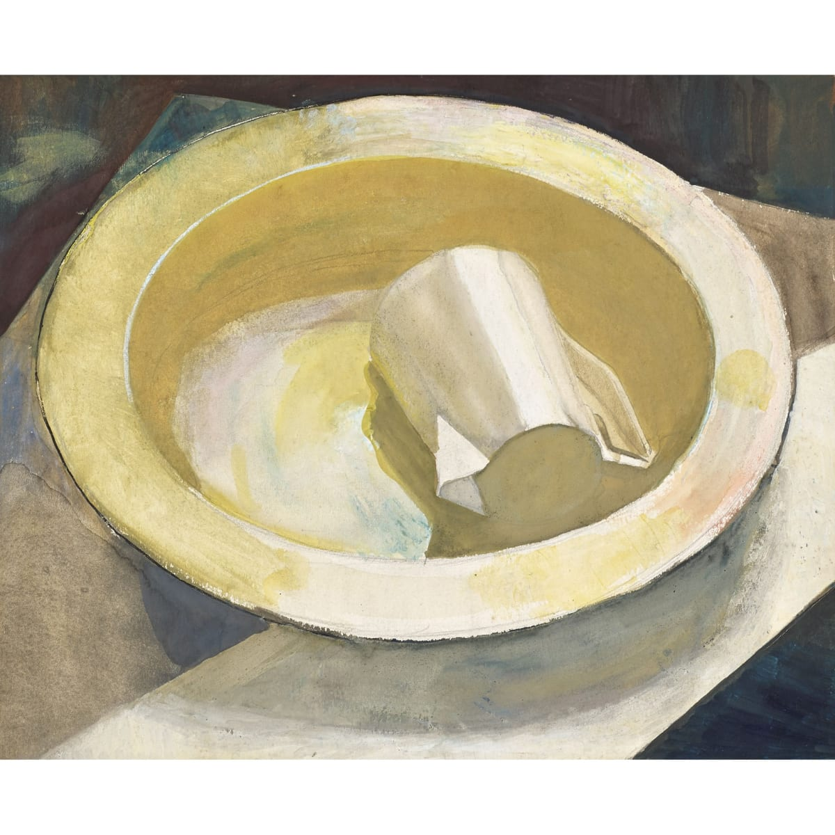 James Cowie Jug in Yellow Bowl watercolour and gouache 8 1/4 x 10 inches
