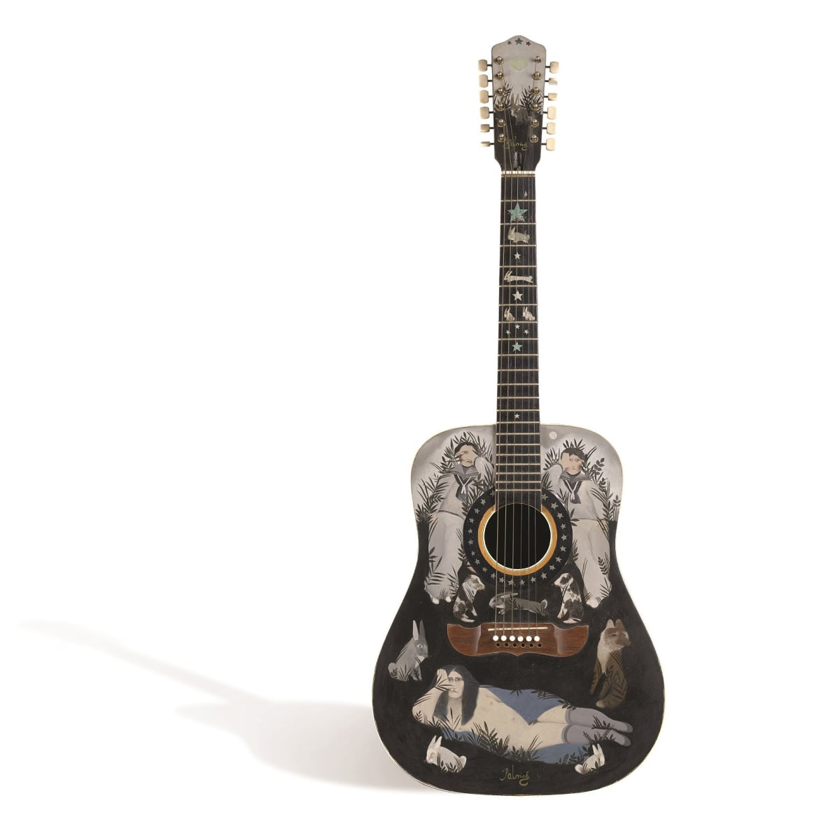 John Byrne Hand painted guitar, 1968 signed 'Patrick' on head and reverse oil 43 x 15 x 4 1/4 inches
