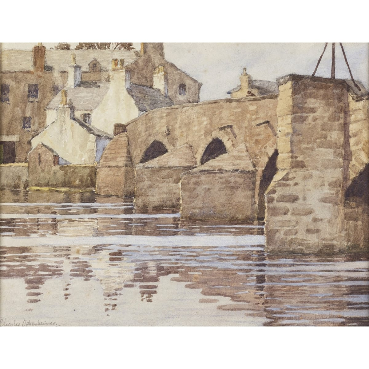 Charles Oppenheimer Devorgilla Bridge or the Old Bridge, Dumfries signed watercolour on paper 8 1/2 x 11 inches