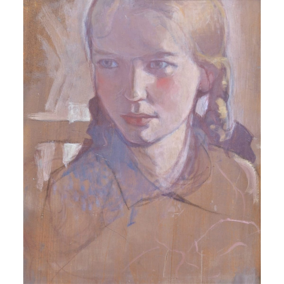 Mabel Royds Marjorie in Plaits, 1928 inscribed 'Marjorie 1928' on panel verso oil on panel 35.5 x 29.2 cm