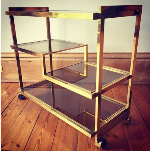 ITALIAN Brass and glass three-tiered cocktail trolley 1970s brass and vitrine 29 x 32 1/2 x 15 3/4 inches