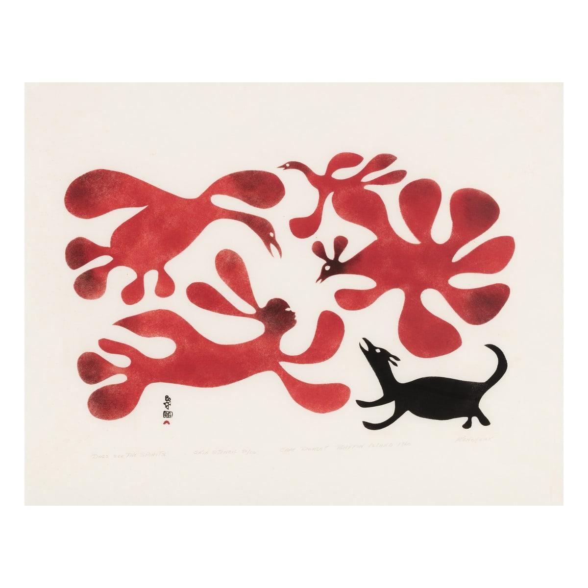 KENOJUAK ASHEVAK, C.C., R.C.A (1927-2013) KINNGAIT (CAPE DORSET) Dogs See the Spirits, 1960 REALIZED: $28,800